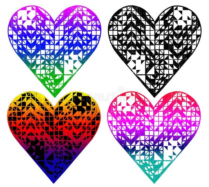 il cuore ha modellato il modello, progettazione della maglietta illustrazione di stock