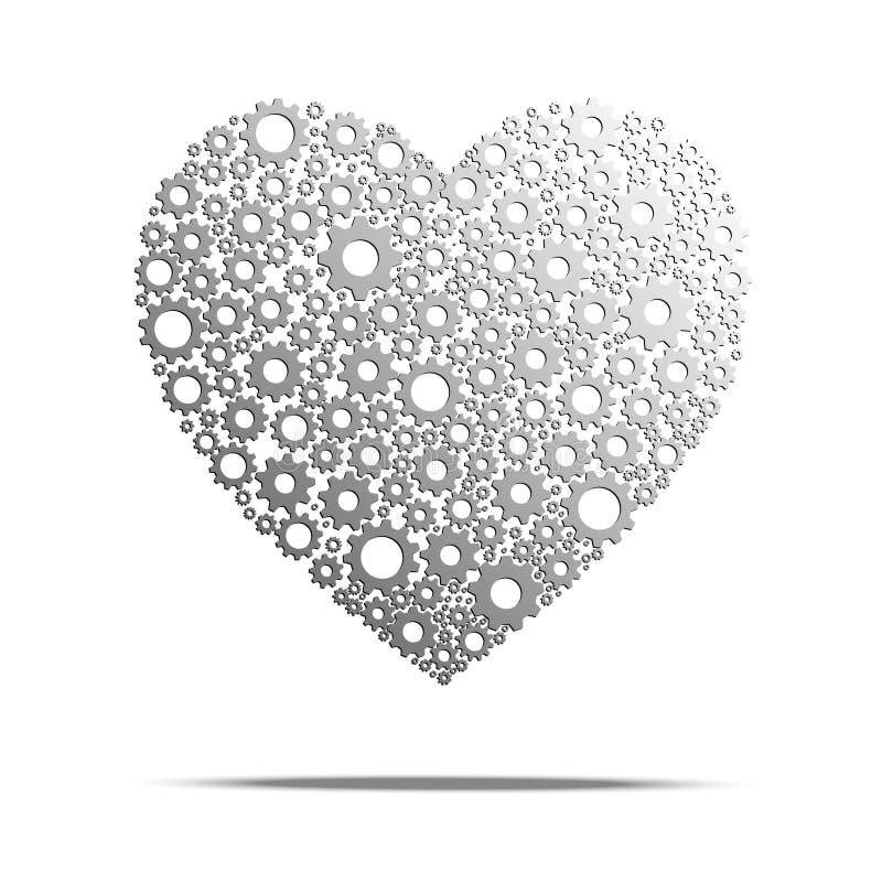 Il cuore innesta con l'isolato della ruota dentata su fondo bianco royalty illustrazione gratis