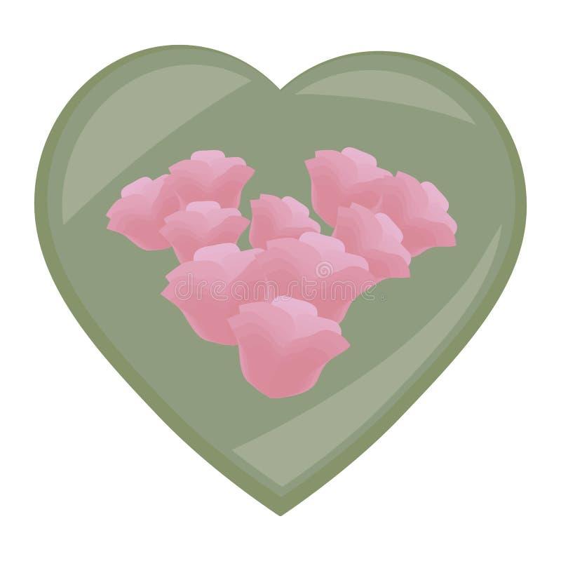 Il cuore lucido verde con le rose fiorisce il cofanetto della composizione nel mazzo isolato su fondo bianco royalty illustrazione gratis