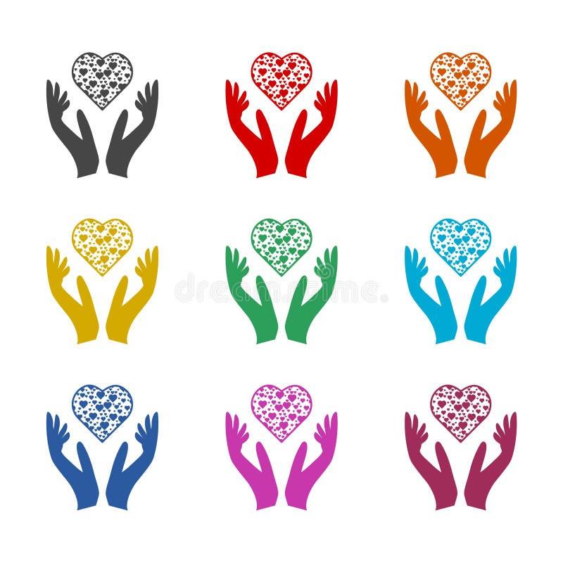 Il cuore in mani firma l'icona, icona di donazione, icone di colore messe illustrazione vettoriale