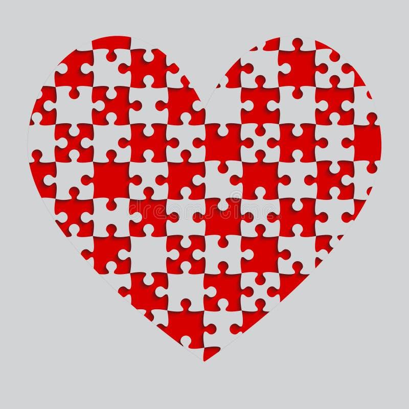 Il cuore rosso di puzzle collega - puzzle - gli scacchi del campo illustrazione vettoriale