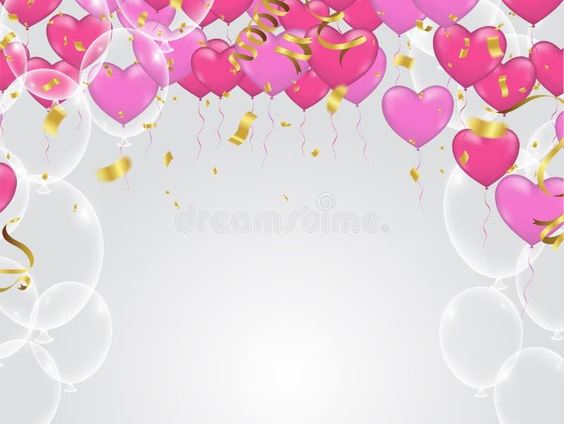 Il cuore rosso e rosa balloons, illustrazione di vettore Coriandoli e r illustrazione di stock