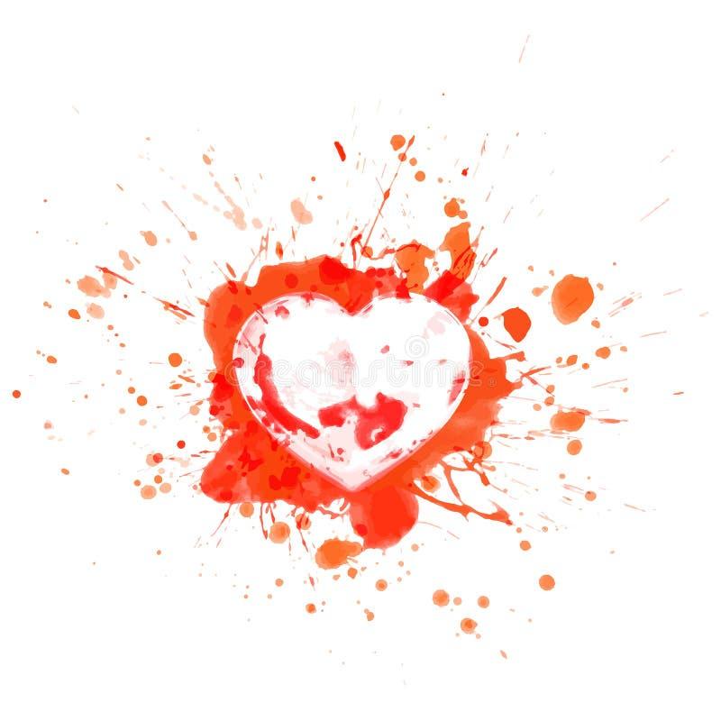 Il cuore sanguinoso su rosso spruzza e mette in mostra - vector l'illustrazione royalty illustrazione gratis
