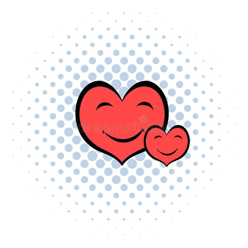 Il cuore sorridente affronta l'icona, stile dei fumetti illustrazione di stock