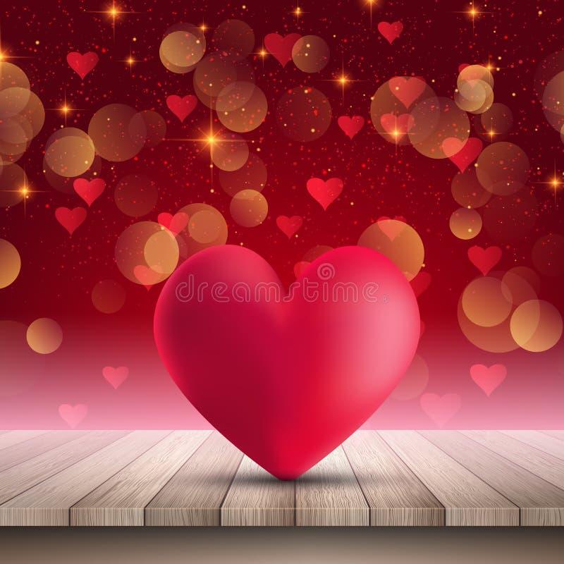 Il cuore sulla tavola di legno su bokeh accende il fondo royalty illustrazione gratis