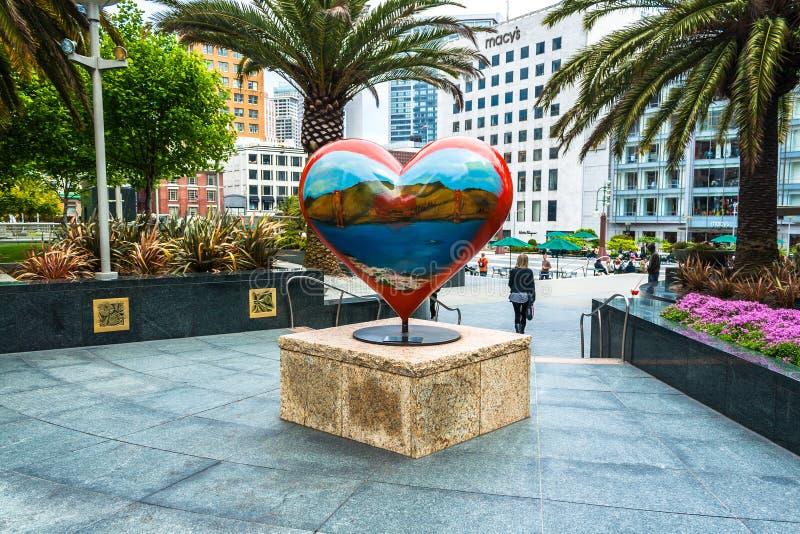 Il cuore in Union Square, San Francisco, California, U.S.A. fotografia stock libera da diritti