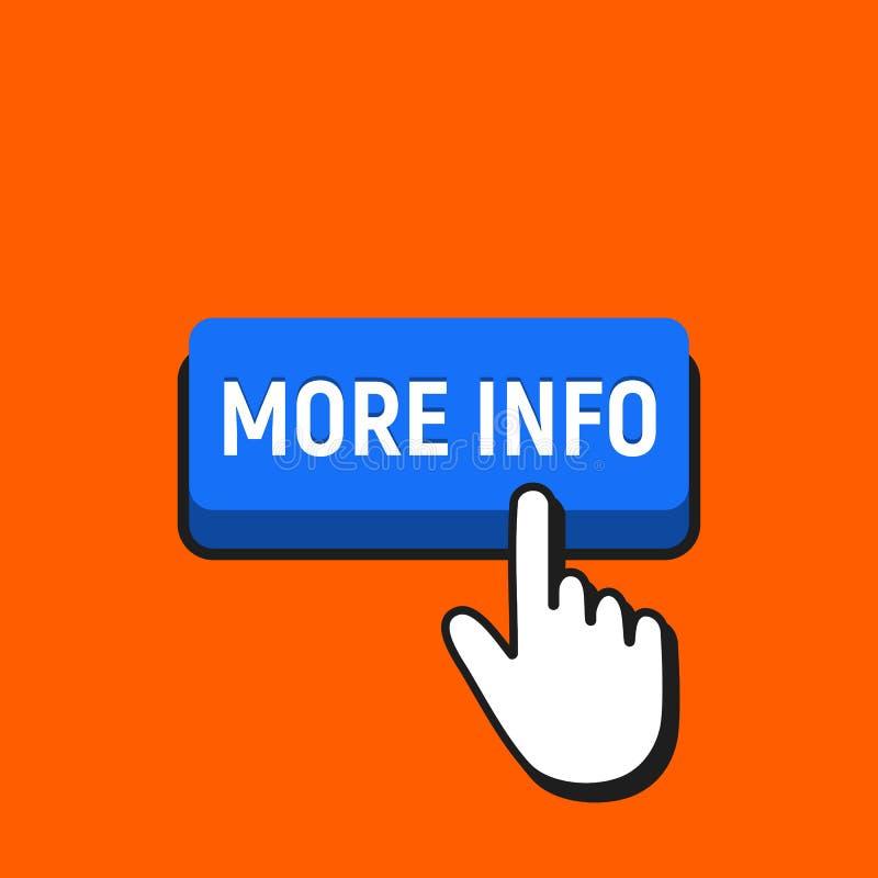 Il cursore del mouse della mano clicca il più bottone di informazioni illustrazione vettoriale