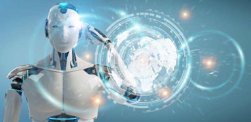 Il cyborg maschio bianco che usando i dati digitali collega la rappresentazione 3D illustrazione vettoriale