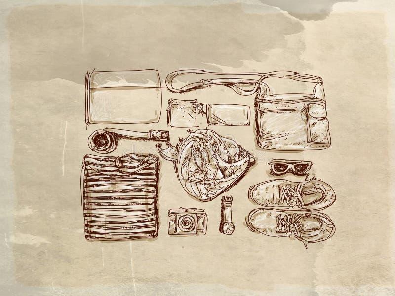 Il ` d'annata s degli uomini copre con la base antica illustrazione vettoriale