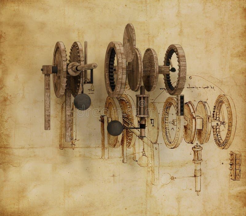 Il Da Vinci Gears (2) illustrazione di stock