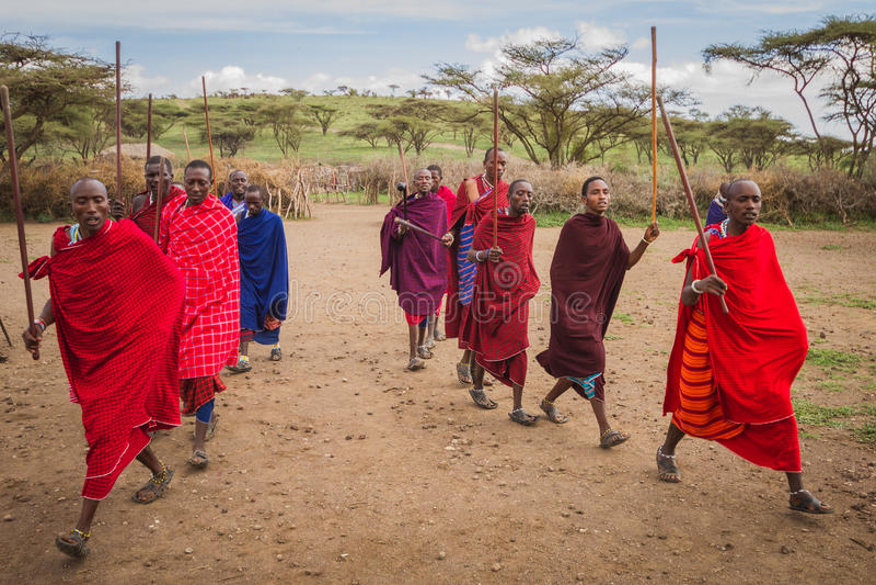 Il dancing benvenuto di Maasai immagine stock libera da diritti