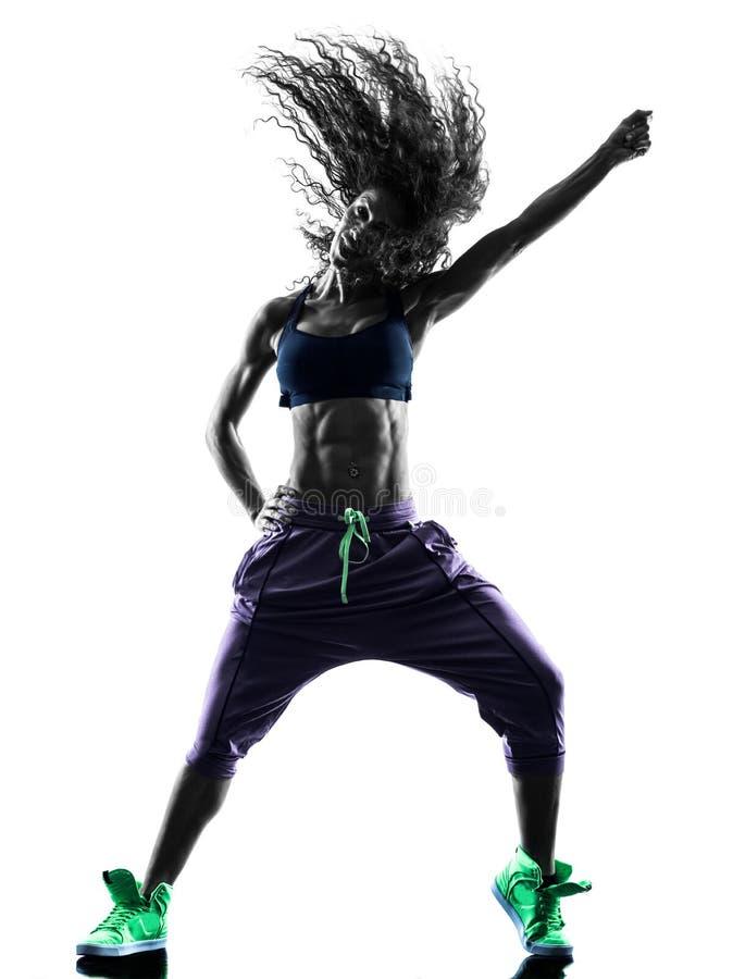 Il dancing del ballerino di zumba della donna esercita la siluetta immagini stock