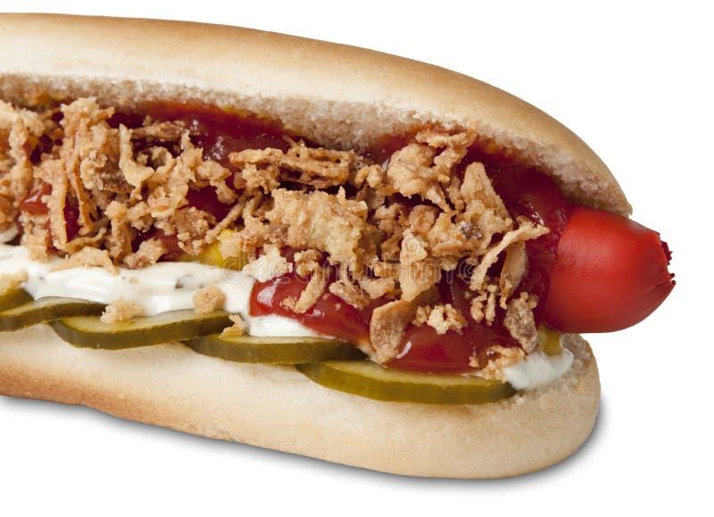 Il Danese tradizionalmente farcito hot dog fotografia stock libera da diritti