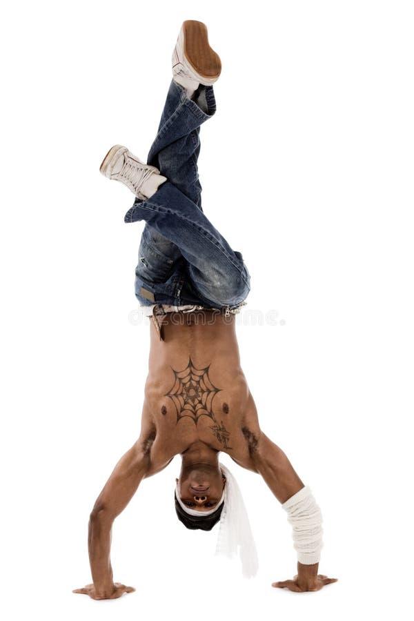 Il danzatore del luppolo dell'anca freezed i suoi movimenti fotografia stock libera da diritti