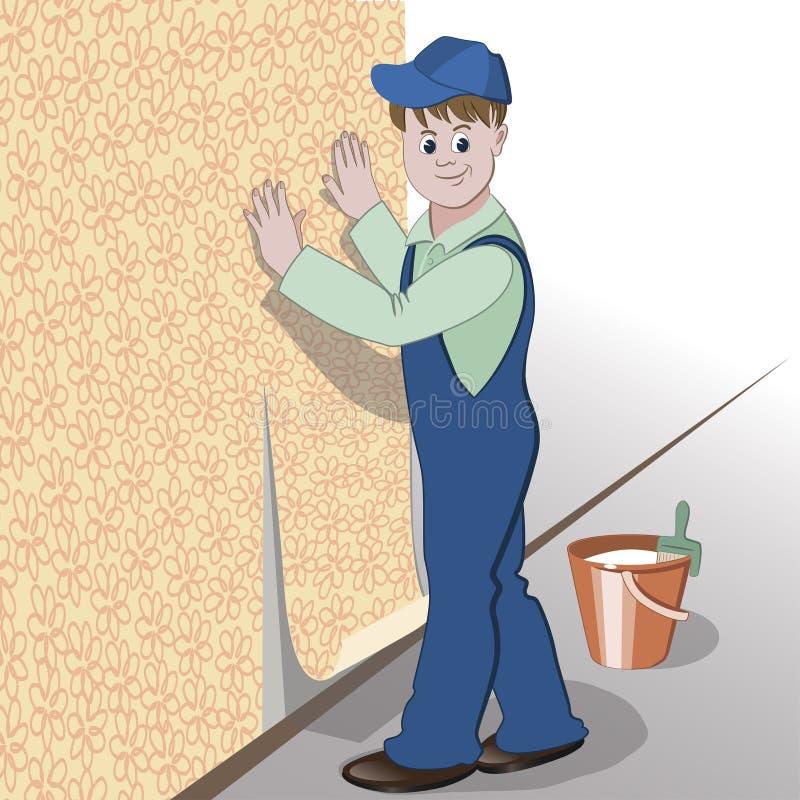 Il decoratore o il tuttofare incolla la carta da parati per murare illustrazione vettoriale