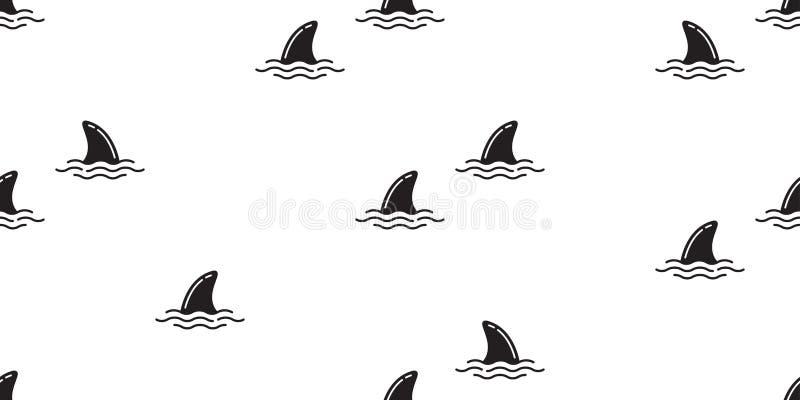 Il delfino senza cuciture del modello dell'aletta dello squalo ha isolato il fondo della carta da parati della spiaggia dell'isol royalty illustrazione gratis