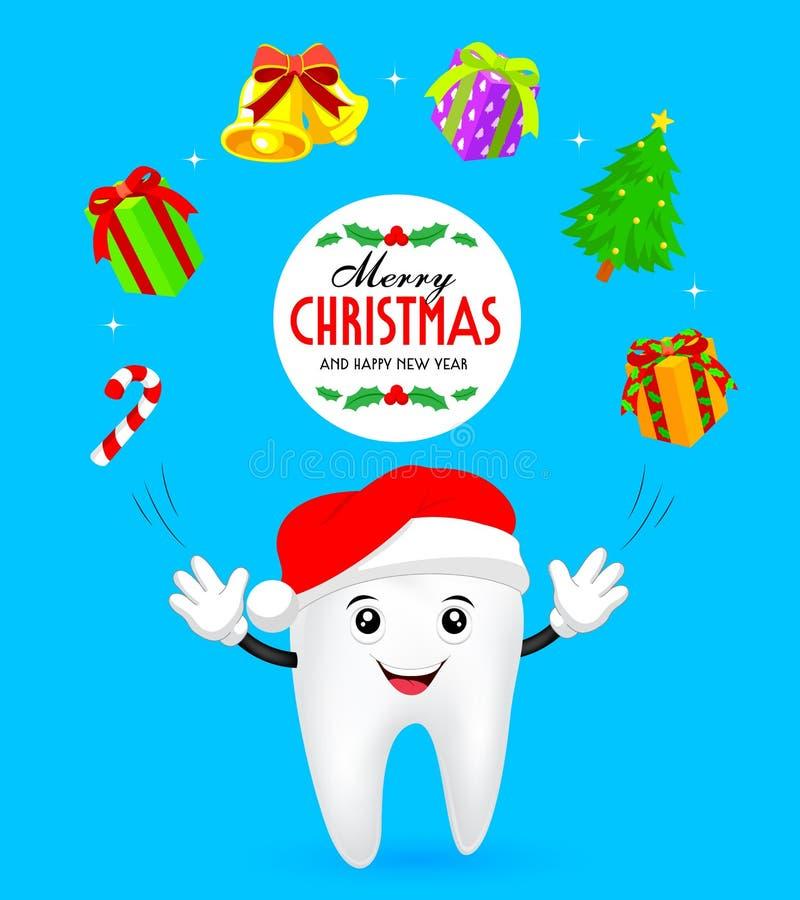 Il dente felice che porta il cappello di Santa Claus manipola con i contenitori di regalo e le decorazioni di Natale illustrazione vettoriale