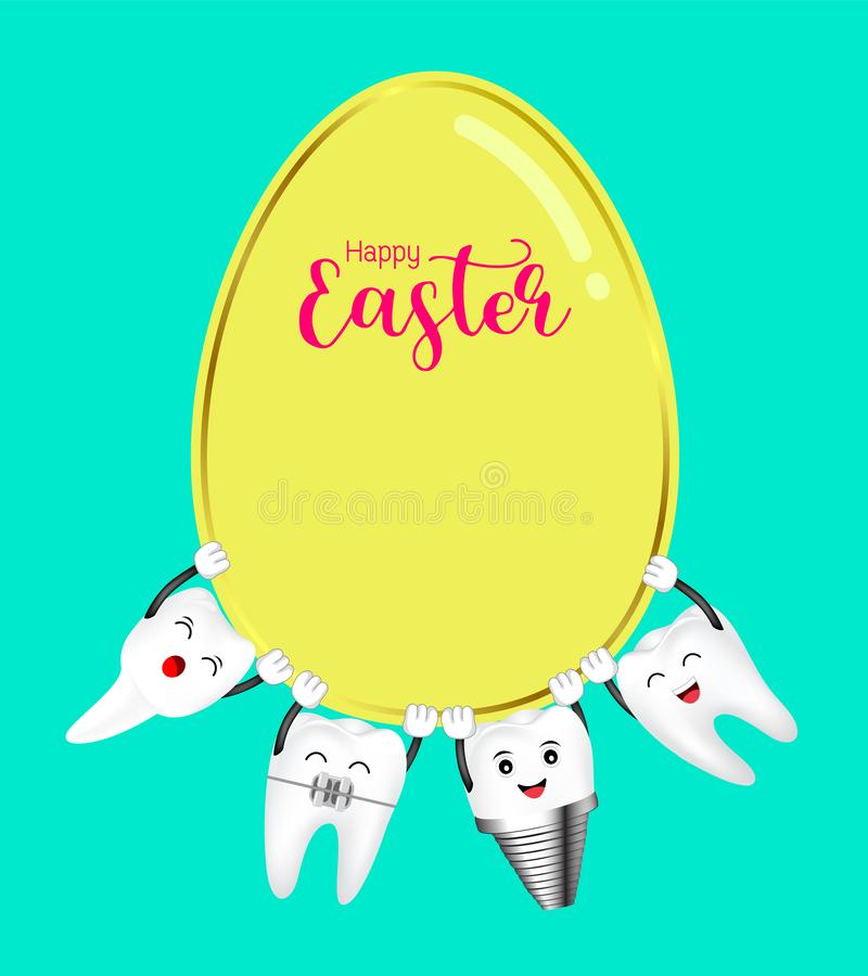 Il dente felice del fumetto sveglio prende l'uovo di Pasqua illustrazione di stock