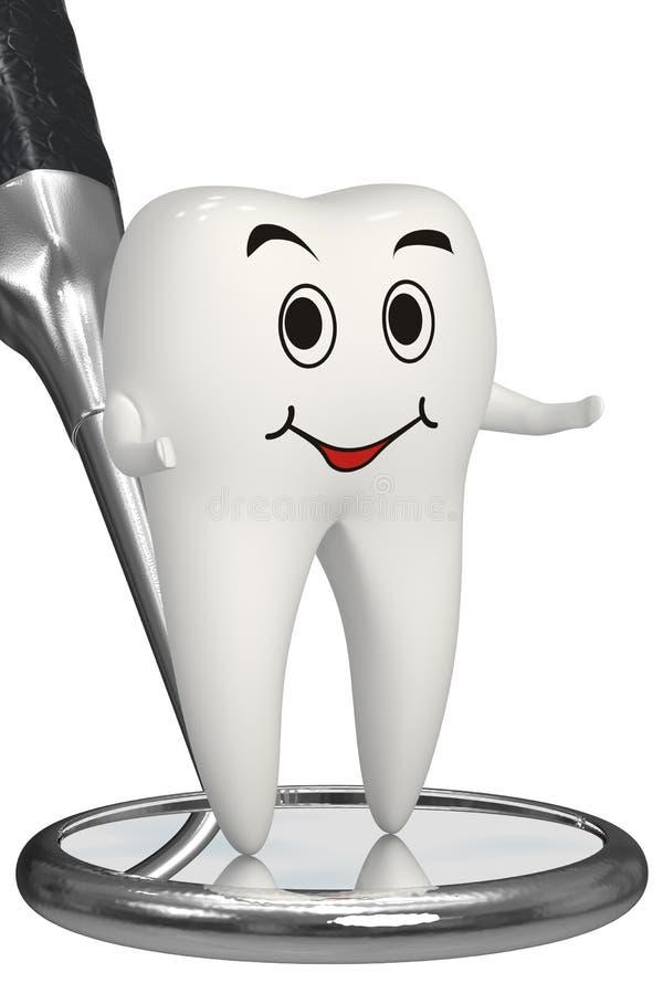 il dente sorridente 3d sullo specchio dentale ha isolato l'icona illustrazione di stock