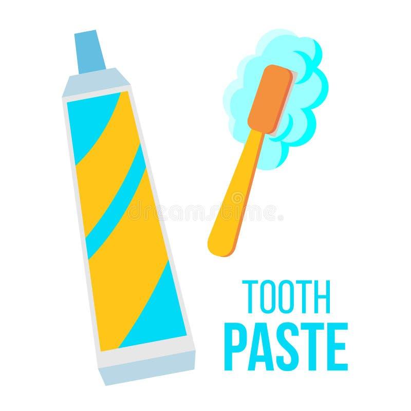 Il dentifricio, spazzola il vettore Cure odontoiatriche del bambino Illustrazione piana isolata del fumetto royalty illustrazione gratis