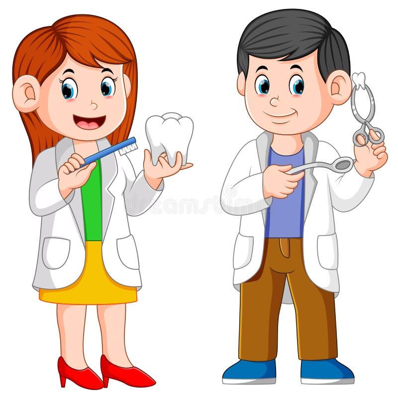 Il dentista due sta tenendo gli strumenti per la pratica royalty illustrazione gratis