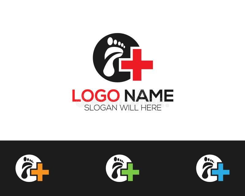 Il deposito online medico di Logo Template del piede vectors l'illustrazione illustrazione di stock