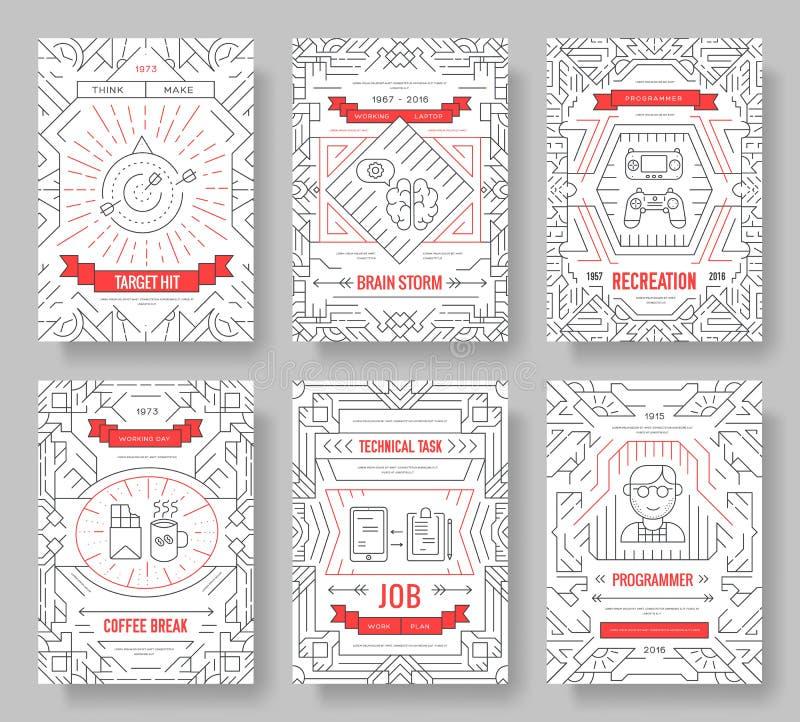 Il des cartes de brochure de vecteur de connaisseurs amincissent la ligne ensemble calibre professionnel de promoteur de bureau d illustration stock