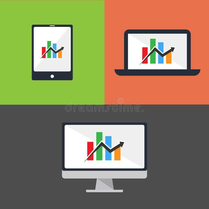 Il desktop computer, il computer portatile, la compressa e lo Smart Phone sul fondo di colore vector l'illustrazione illustrazione di stock