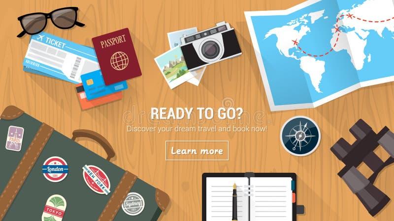 Il desktop del viaggiatore royalty illustrazione gratis