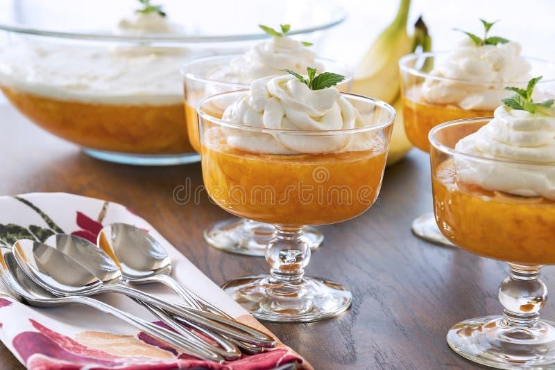 Il dessert lancia in pieno Gelificare-o con una guarnizione montata cremosa fotografie stock