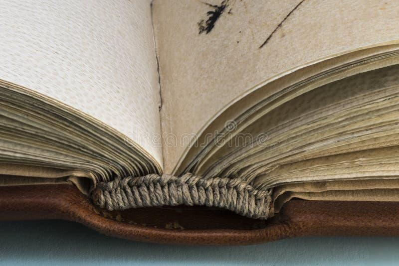 Il dettaglio del cucito va sulla spina dorsale di un libro medievale fotografia stock