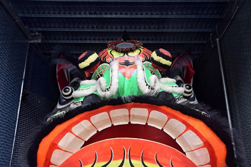 Il dettaglio della testa dei lionÂ, parte di un custume usa per Lion Dance immagine stock libera da diritti