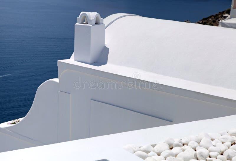 Il dettaglio di bianco ha lavato le case tradizionali, Grecia, Santorini isl fotografia stock