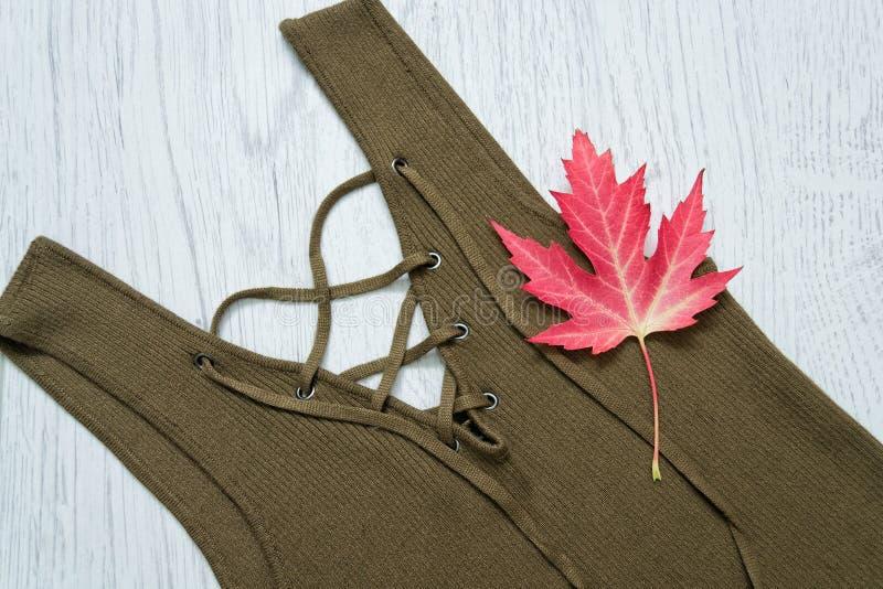 Il dettaglio di un vestito con i legami, colora cachi Foglia di acero isolata concetto alla moda immagine stock