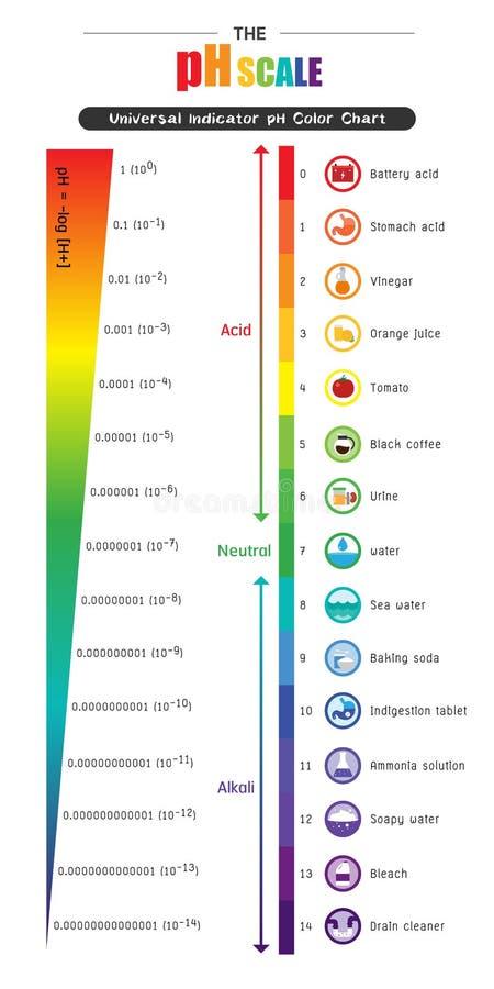 Il diagramma di grafico a colori universale dell'indicatore pH della scala di pH illustrazione di stock