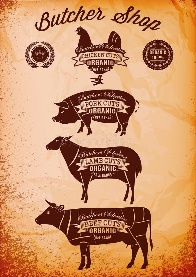 Il diagramma vettoriale ha tagliato le carcasse pollo, maiale, mucca, agnello illustrazione vettoriale