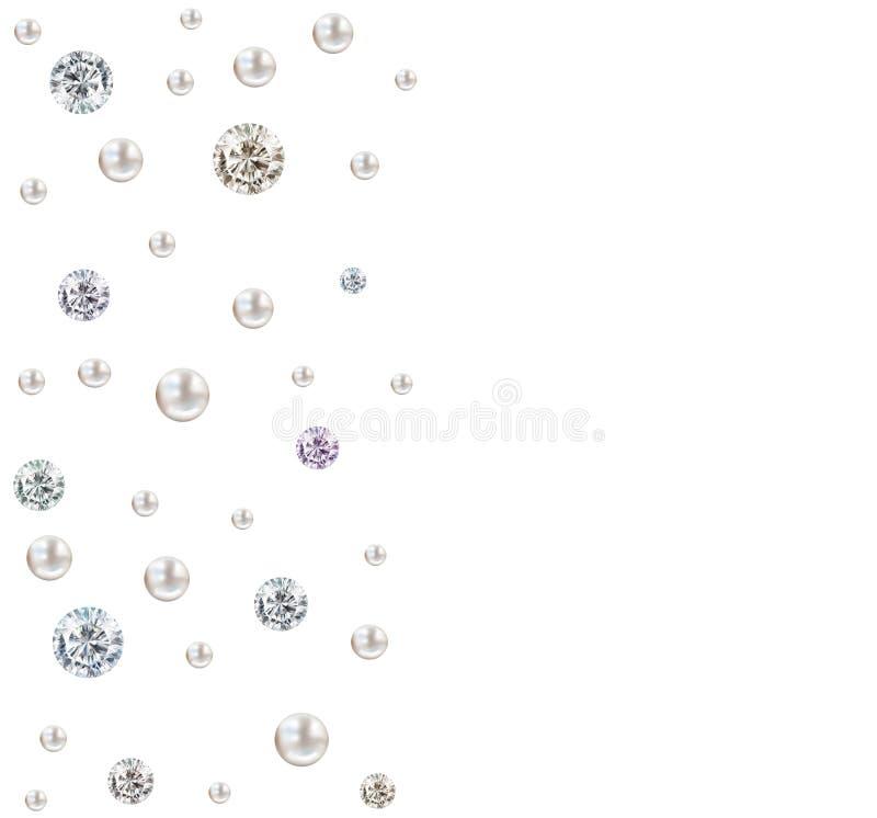 Il diamante e la perla di nozze generano il quadrato su backgr bianco illustrazione vettoriale