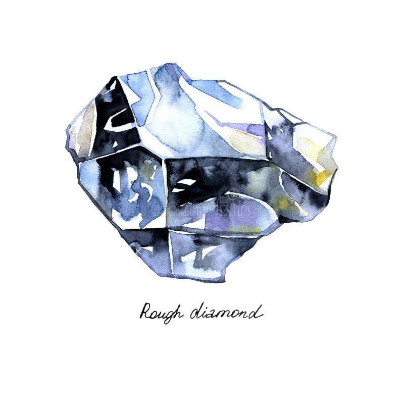 Il diamante grezzo di cristallo dell'acquerello dipinto ha isolato il fondo su bianco illustrazione di stock