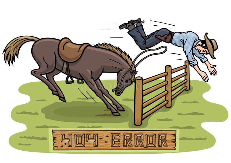 Il didn t del cavallo vuole saltare sopra il recinto Invece, un cowboy ha sorvolato un ostacolo illustrazione vettoriale