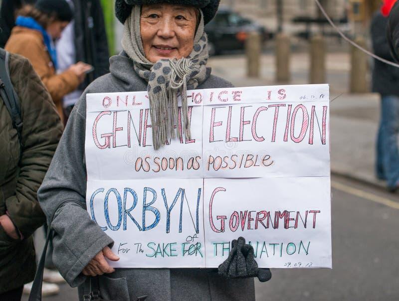 Il dimostrante con il manifesto alla Gran-Bretagna ora è rotto elezione generale/demonstratio a Londra fotografia stock libera da diritti