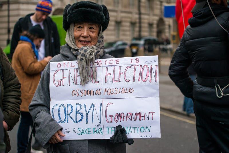 Il dimostrante con il manifesto alla Gran-Bretagna ora è rotto elezione generale/demonstratio a Londra fotografia stock