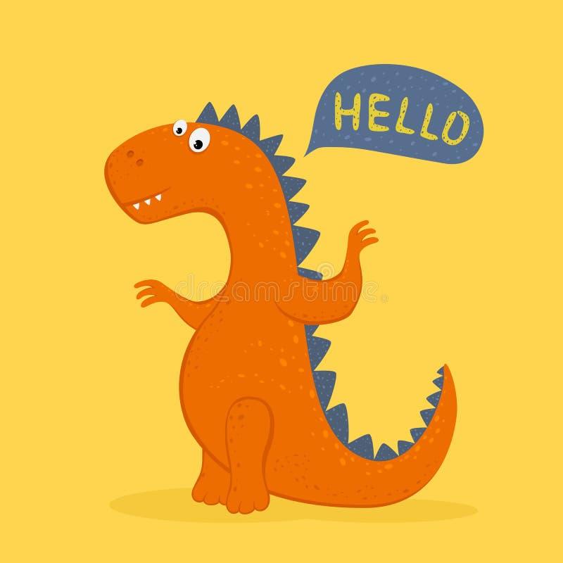 Il dinosauro arancio sveglio dice ciao royalty illustrazione gratis