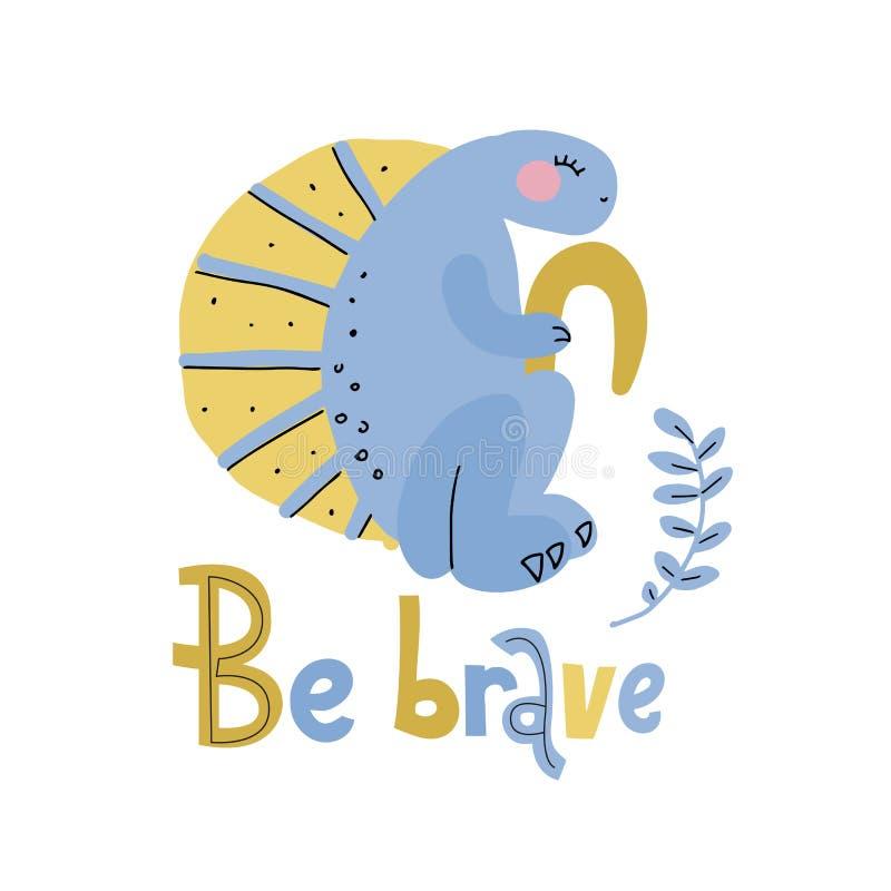 Il dinosauro blu con l'illustrazione disegnata a mano piana del fumetto della cresta gialla con iscrizione è coraggioso Clipart d illustrazione di stock