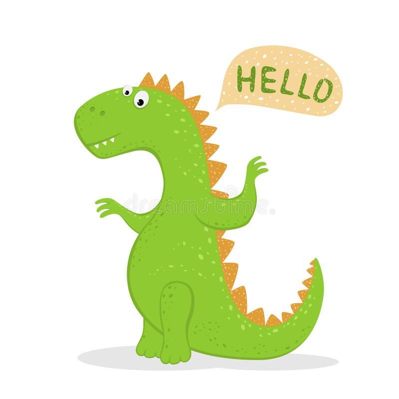 Il dinosauro verde sveglio dice ciao royalty illustrazione gratis