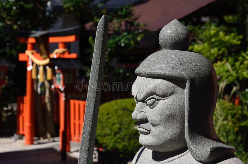 Il dio di pietra al giapponese shrine, Kyoto Giappone fotografie stock