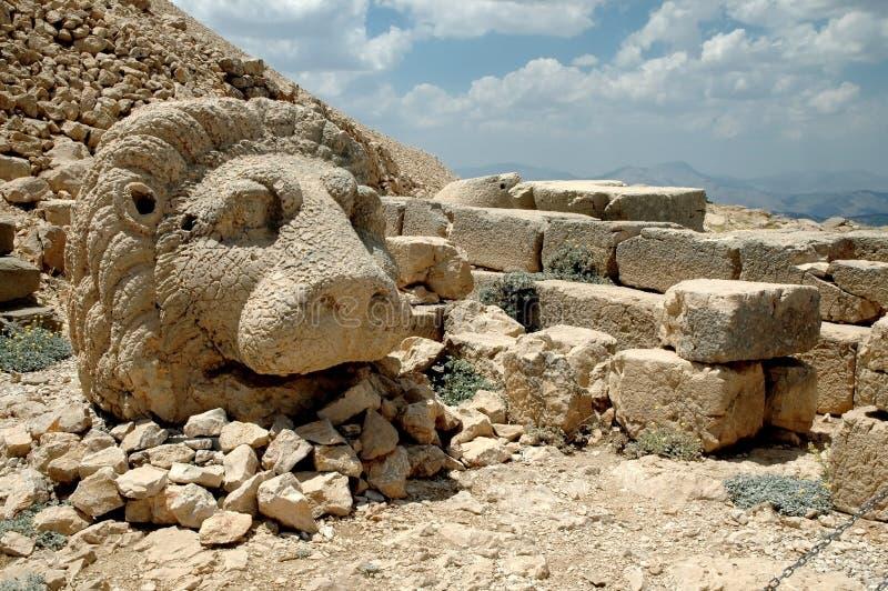 Il dio monumentale si dirige sul supporto Nemrut, Turchia fotografia stock