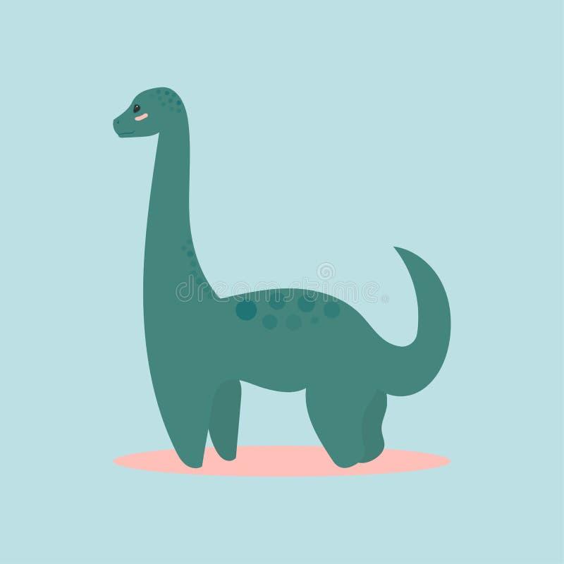 Il diplodocus dell'icona del dinosauro per la progettazione del partito di Dino, la festa dei bambini, dinosaurus ha collegato i  illustrazione vettoriale