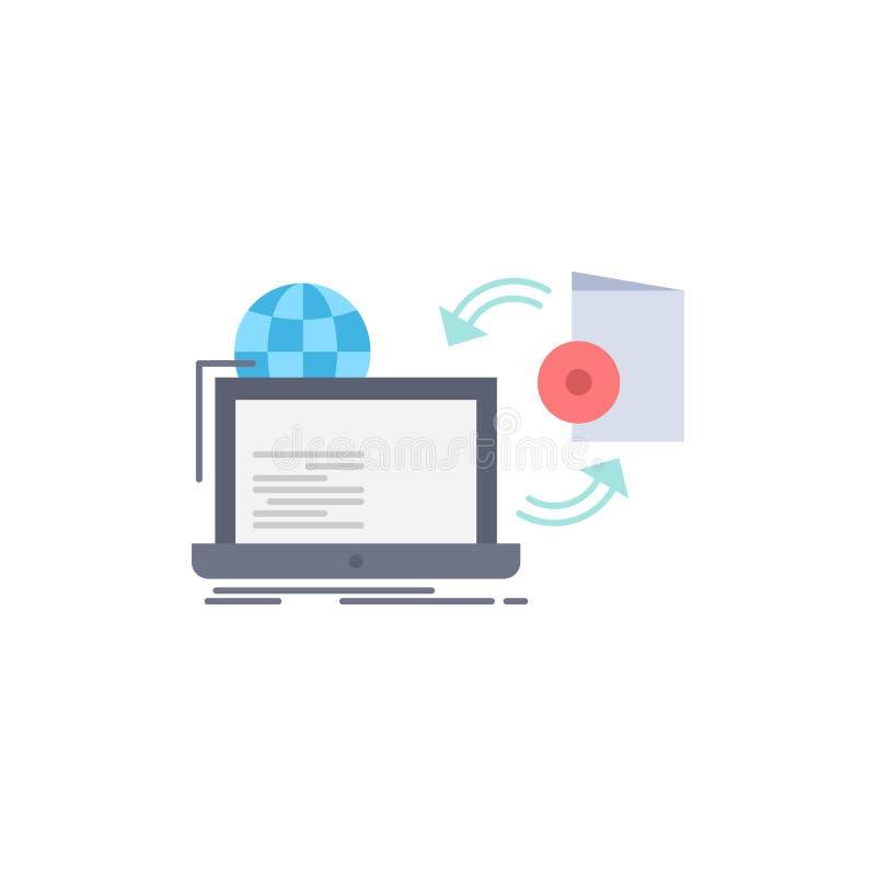 Il disco, online, gioco, pubblica, pubblicando il vettore piano dell'icona di colore illustrazione vettoriale