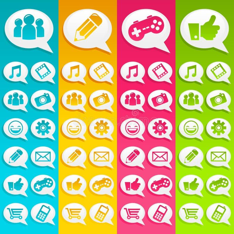 Il discorso bolle icone di media illustrazione di stock