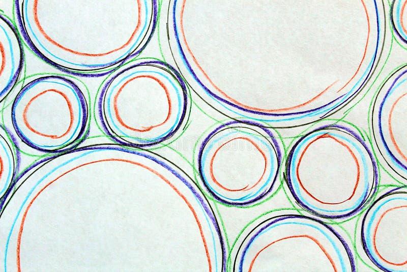 Il disegno astratto ha dipinto i cerchi dei colori e delle dimensioni differenti e fotografati immagini stock